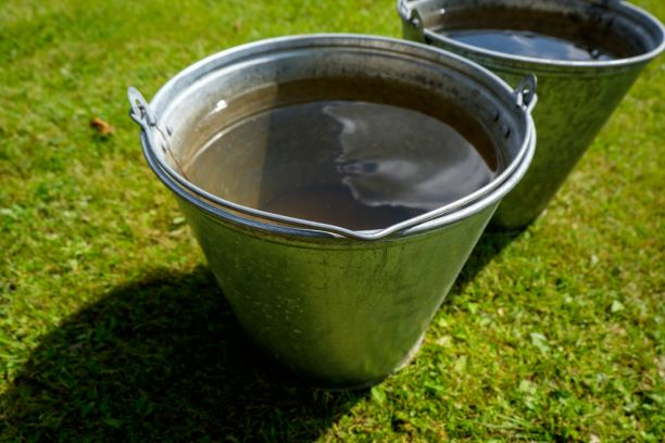 grey water in bucket